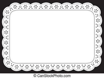 Vintage eyelet lace doily place mat for setting table, cake decorating, celebrations, holidays, scrapbooks, arts, crafts.