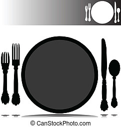 place set vector silhouettes