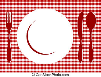 Place Setting. Plate, spoon, fork, knife and plate on red cross-weave gingham tiles tablecloth. Food, restaurant, menu design with cutlery and plate silhouettes background. Vector available
