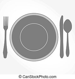 Dinner Set - plate, knife, spoon and fork