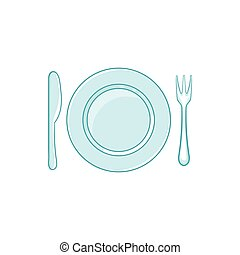 Place setting with empty dish fork and knife icon