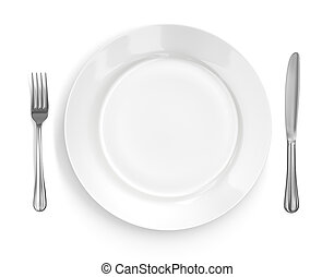Place setting with high-gloss plate, knife & fork. Isolated on white. Includes pro clipping path.
