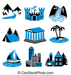 places for tourism and relaxation. A set of vector icons in two colors