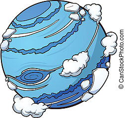Cartoon planet Neptune. Vector clip art illustration with simple gradients. All in a single layer.