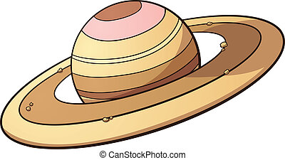 Cartoon planet Saturn. Vector clip art illustration with simple gradients. All in a single layer.