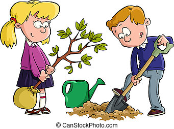 The children planted a tree vector illustration