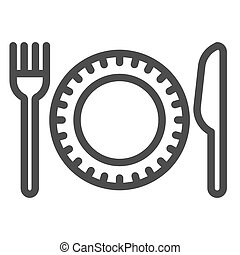 Plastic disposable tableware line icon, picnic concept, plate with fork and knife sign on white background, Paper disposable food dish and cutlery icon in outline style. Vector graphics.