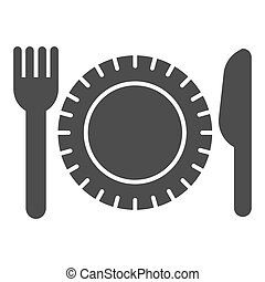 Plastic disposable tableware solid icon, picnic concept, plate with fork and knife sign on white background, Paper disposable food dish and cutlery icon in glyph style. Vector graphics.