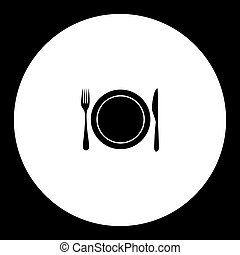 plate and cutlery simple silhouette black icon eps10