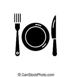 Plate, fork and knife black icon, vector sign on isolated background. Plate, fork and knife concept symbol, illustration