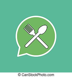 Plate fork and knife flat icon.