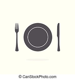 Plate, fork and knife icon