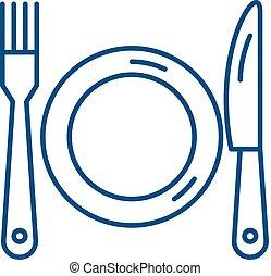 Plate, fork and knife line icon concept. Plate, fork and knife flat vector symbol, sign, outline illustration.