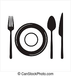 Plate, fork and knife line icon concept. Plate, fork and knife vector linear illustration