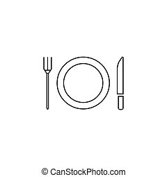Plate Fork And Knife line icon, dishware