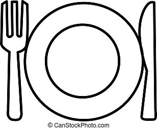 plate, fork and knife line icon on white background. dinner dishes sign. cutlery symbol.