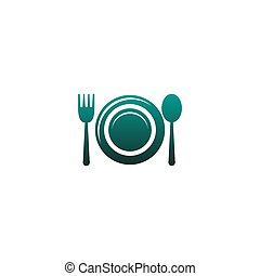 Plate, Fork and spoon icon vector