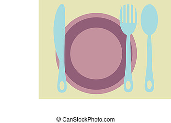 Plate, fork, knife and spoon