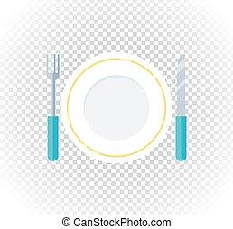 Plate Fork Knife Design Flat Icon