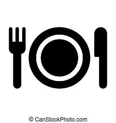 plate fork knife icon black