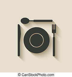 plate fork knife spoon icon