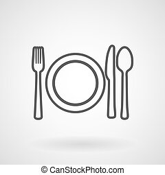Plate, knife and fork line icon, vector