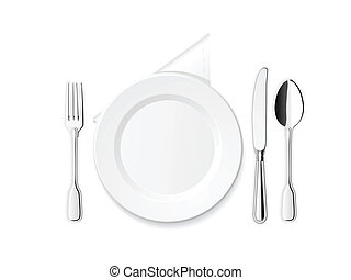 Plate, knife, spoon and fork