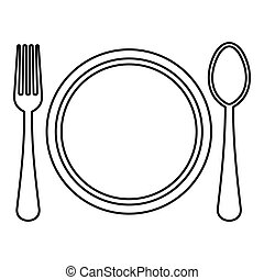 Plate, spoon and fork icon, outline style