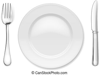 Plate with cutlery: knife and fork, isolated on white
