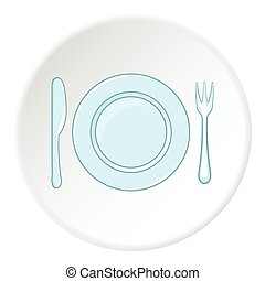 Plate with spoon and fork icon, cartoon style