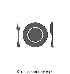 Plate,fork and knife icon on white background