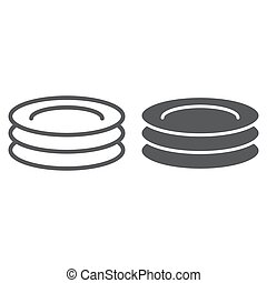 Plates line and glyph icon, kitchen and cooking, dishes sign vector graphics, a linear pattern on a white background, eps 10.