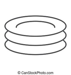 Plates thin line icon, kitchen and cooking, dishes sign vector graphics, a linear pattern on a white background, eps 10.