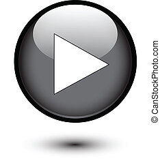 Play icon on black glossy button