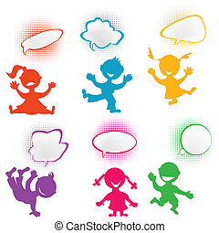 Playful children silhouettes with chat bubbles