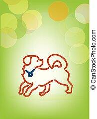 Playful dog, line art, vector