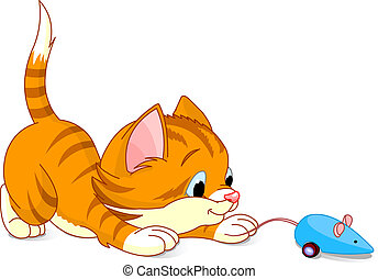 Image of kitten playing with toy mouse
