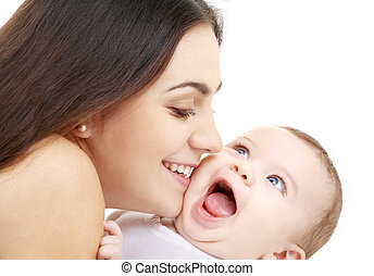 playful mama with happy baby