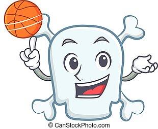 Playing basketball skull character cartoon style