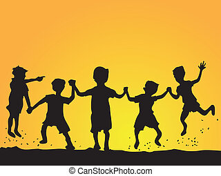 playing kids silhouette