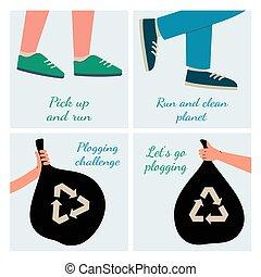 Plogging challenge poster set - hands holding garbage bags, running legs