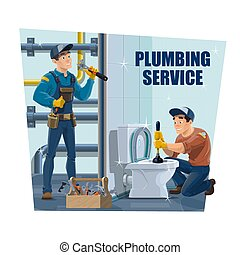Plumber cleaning the toilet and pipes