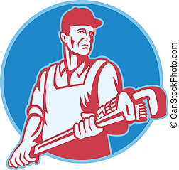 Retro illustration of a plumber worker carrying a giant adjustable monkey wrench viewed from front set inside circle on isolated white backgroiund.