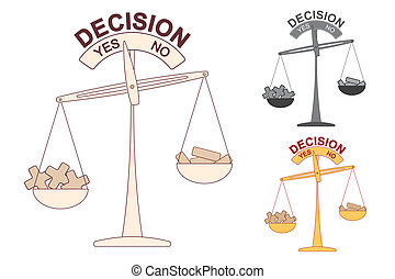 Pluses and Minuses on Decision Scale conceptual vector image.