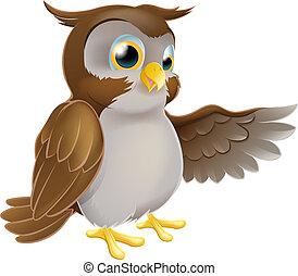 Pointing Cartoon Owl