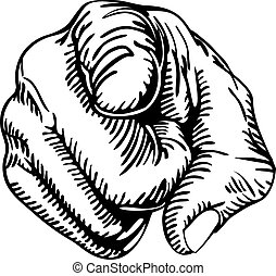 a black and white illustration of a human hand with the finger pointing or gesturing towards you.