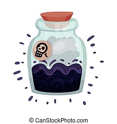 Poison in a glass jar. Vector illustration on a white background.