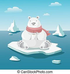 Polar bear on floe holds a mug with hot coffee