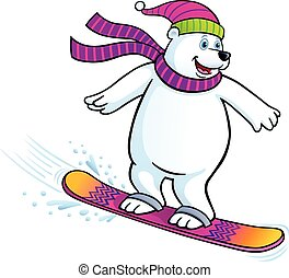 Cartoon illustration of a polar bear snowboarding while wearing a knit scarf and knit hat.
