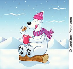 Cartoon of a polar bear with a cup of hot cocoa with marshmallows and a chocolate chip cookie while sitting on a log while it is snowing.